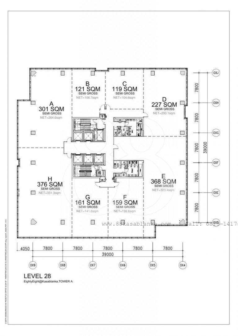 Sewa Kantor EightyEight@Kasablanka Luas 119 m2